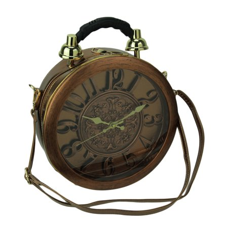 Antique Copper Finish Round Crossbody Bag with Working Clock