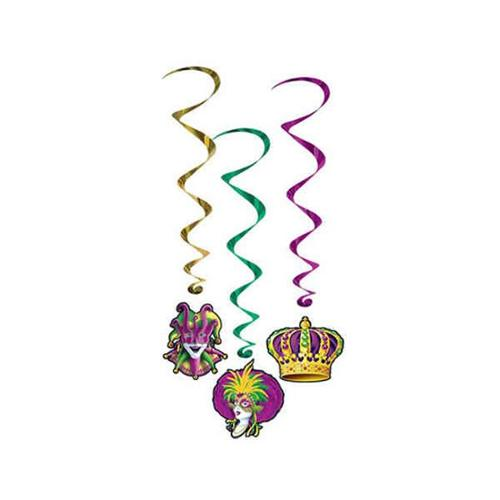 Beistle - 57556 - Mardi Gras Whirls - Pack of 6