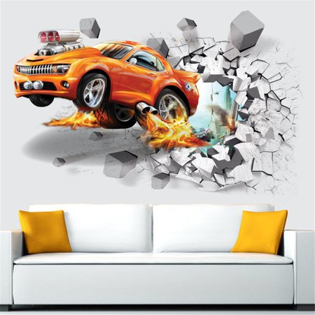 Wall Sticker Creative 3D Car Room Sticker Wall Decal for Kids Bedroom