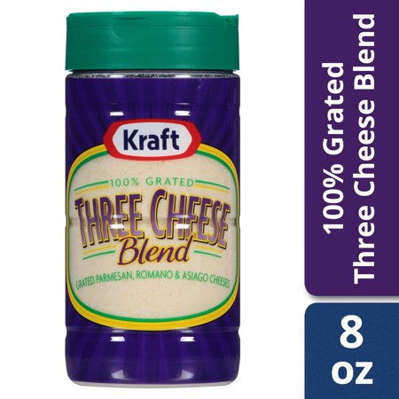 (2 Pack) Kraft 100% Grated Three Cheese Blend Shaker, 8 oz Jar (Grapevine Cheese)