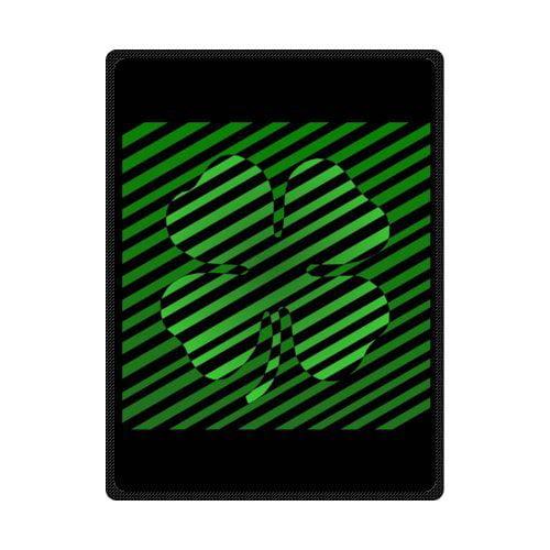 CADecor Black Stripes Leaf Shape Fleece Blanket Throws 58x80 inches