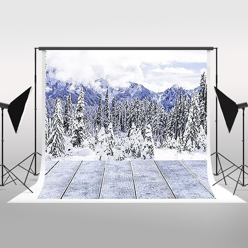 HelloDecor Polyster 7x5ft Photography Backdrop White World Snow Tree Winter Christmas Backdrop Wood Floor Background for Photographers