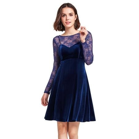 Alisa Pan Women's Short Velvet Evening Dresses for Women 05898 Midnight Blue US12 Stretch Velvet Long A-line