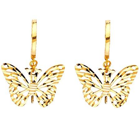 FB Jewels 14K Yellow Gold Diamond-Cut Butterfly Hanging Chandelier Dangle Womens Earrings 13MM X - Stone Chandelier Earrings