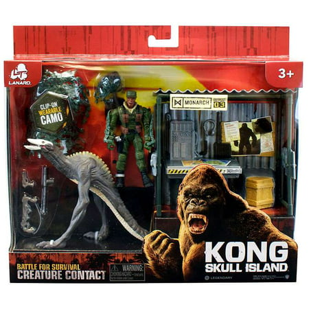 Kong Skull Island   Battle For Survival Creature Contact   Dino Monster With Shack And Figure