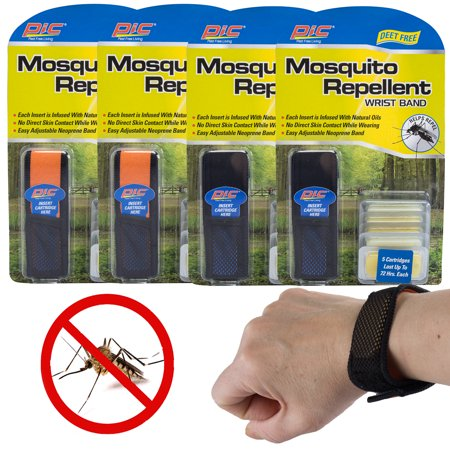 Pic (4 Pack) Natural Mosquito Repellent Bracelets For Kids Adults Citronella Best For Skin &