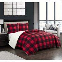 Mainstays Buffalo Plaid Cozy Flannel Reverse to Super Soft Sherpa Comforter Set