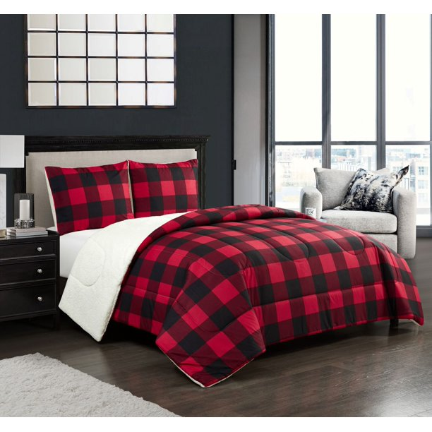 Mainstays Buffalo Plaid Cozy Flannel Reverse to Super Soft Sherpa Comforter Set, Full/Queen