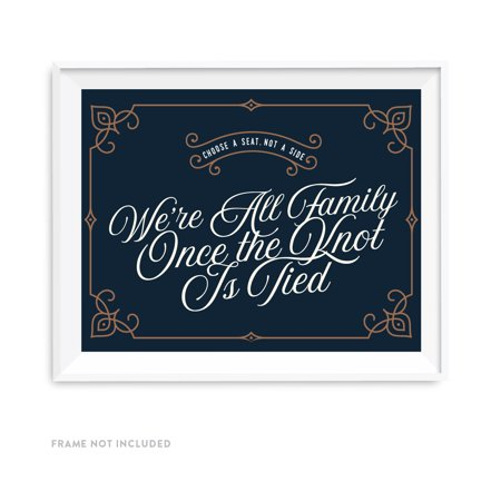 Navy Blue Art Deco Vintage Party Signs, Choose a Seat, Not a Side, We're all Family Once the Knot is Tied, 8.5x11-inch](The Party Is Here Sign)