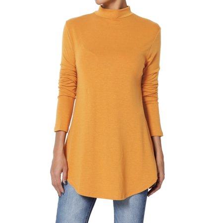 TheMogan Women's PLUS Mock Neck Long Sleeve Round Hem Jersey Top Relaxed T-Shirt (Womens Long Sleeve Mock Neck)