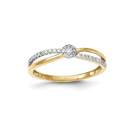 14K Gold Polished Diamond Criss Cross Ring / Ctw. 0.163