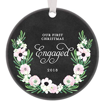 Our First Christmas Engaged 2019, 1st Xmas Soon To Be Mr & Mrs Newlyweds Gifts, Wedding Bride Groom Husband & Wife Ornament Present 3