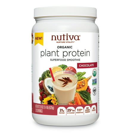 Nutiva Organic, non-GMO, Vegan, Gluten-free Plant Protein Superfood for Shakes and Smoothies, Chocolate Flavored, 21.9