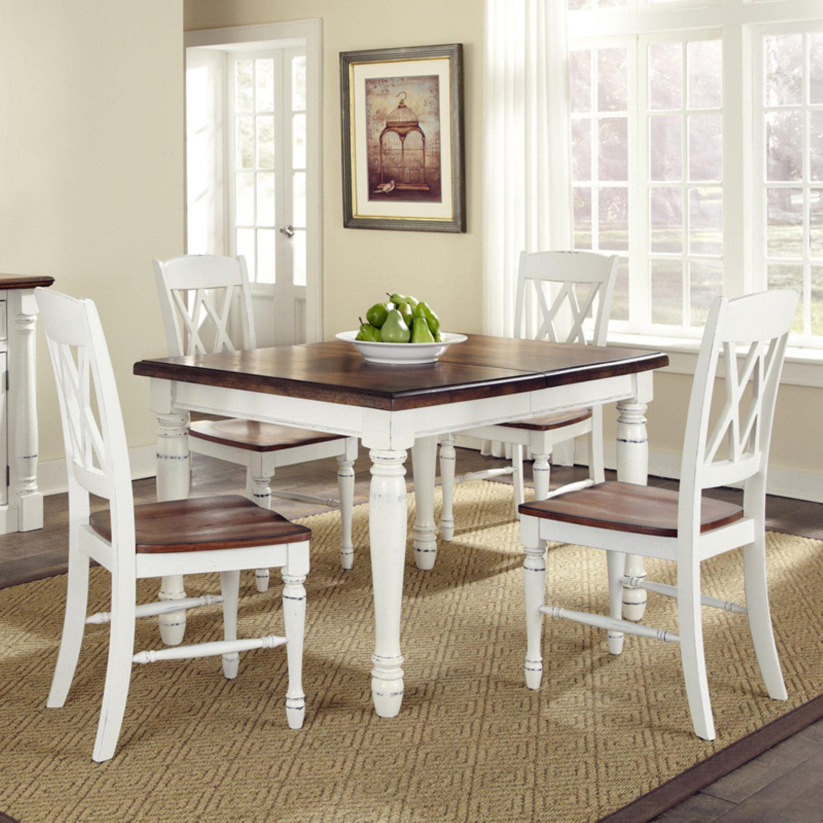 Home Styles Monarch Rectangular Dining Table and 4 Double X-Back Chairs