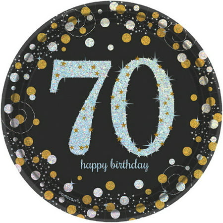 Over the Hill 'Sparkling Celebration' 70th Birthday Small Paper Plates (8ct) - Cheap 70th Birthday Invitations