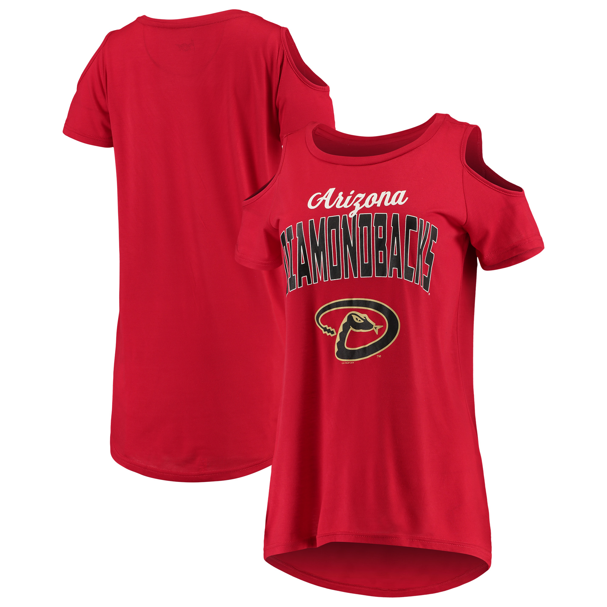 Arizona Diamondbacks G-III 4Her by Carl Banks Women's Clear the Bases Cold Shoulder T-Shirt - Red