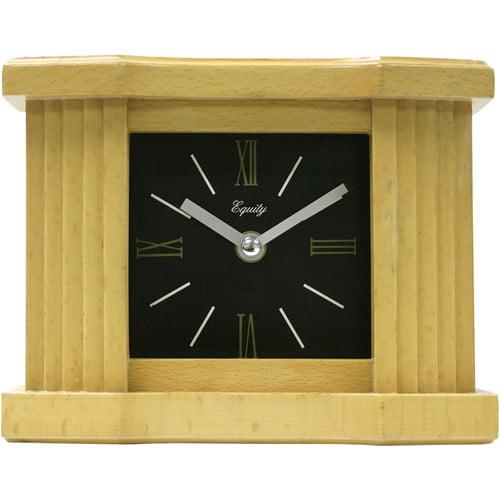 """Equity by La Crosse 6"""" Wood Grain Mantel Clock"""