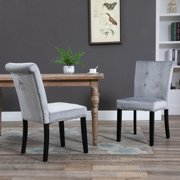 Zimtown Velvet Dining Chair - Set of 2, Dining Room Chair, Kitchen, Bedroom, Living Room Chairs Furniture, Gray