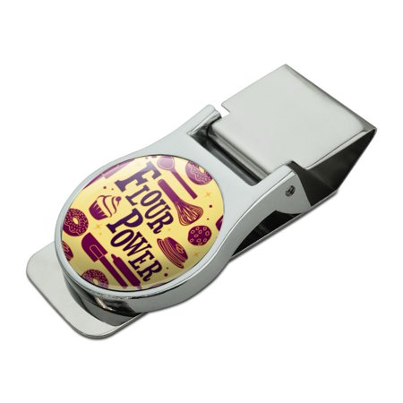 Flour Power Baking Baker Chef Cookie Cake Donut Funny Satin Chrome Plated Metal Money Clip