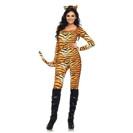 Leg Avenue Women's 2 Piece Wild Tigress Catsuit Costume, Orange/Black, X-Large (Womens Cat Suits)