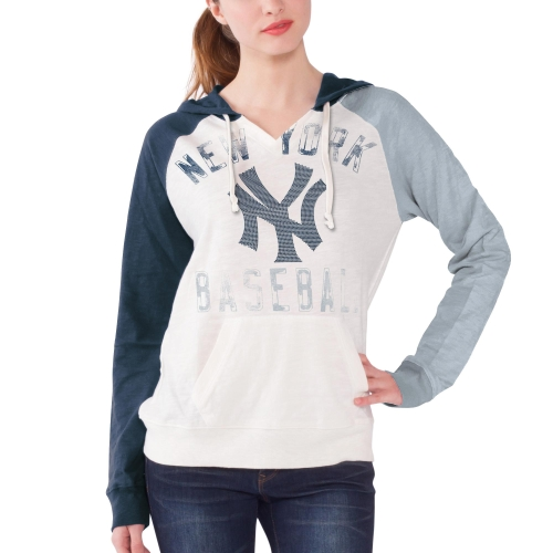 New York Yankees Women's Double Play Pullover Hoodie - White