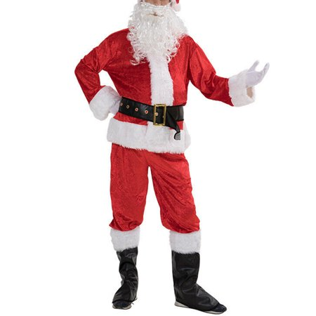 Cheap Cosplay Outfits (5PCS Christmas Santa Claus Costume Fancy Dress Adult Men Suits Cosplay)