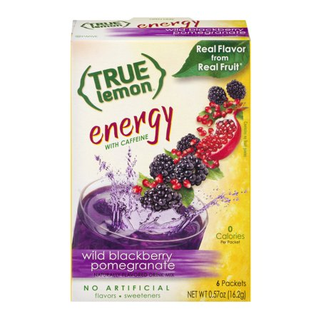 (2 Pack) True Lemon Energy Drink Mix, .57 Oz, Blackberry Pomegranate, 1 Box (Honey Lemon Water)