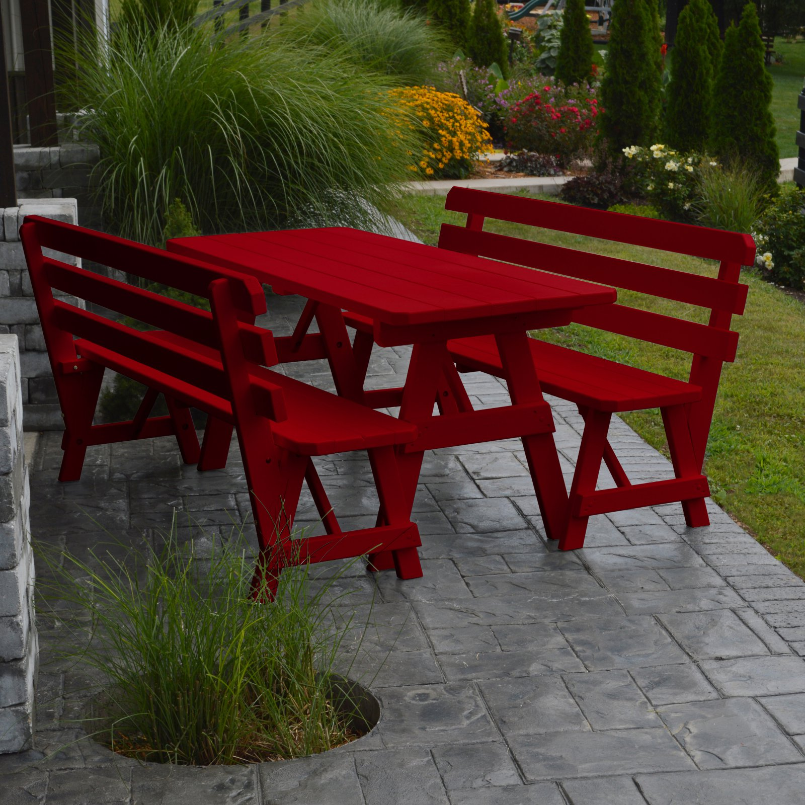 A & L Furniture Yellow Pine Couples Picnic Table with 2 Backed Benches by A and L Furniture Co