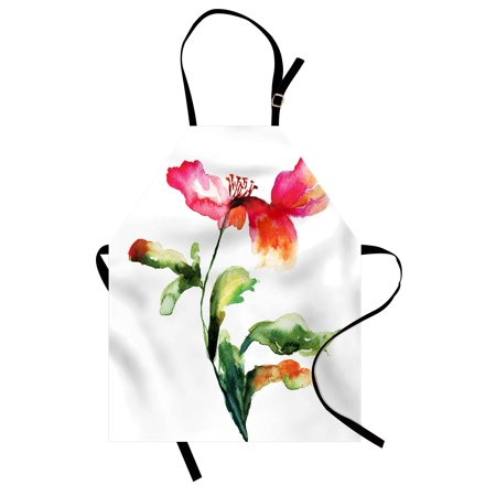 (Watercolor Flower Apron Shaded Single Poppy Flowering Plant Muse Nature Earth Divine Grace, Unisex Kitchen Bib Apron with Adjustable Neck for Cooking Baking Gardening, Red Green White, by Ambesonne)