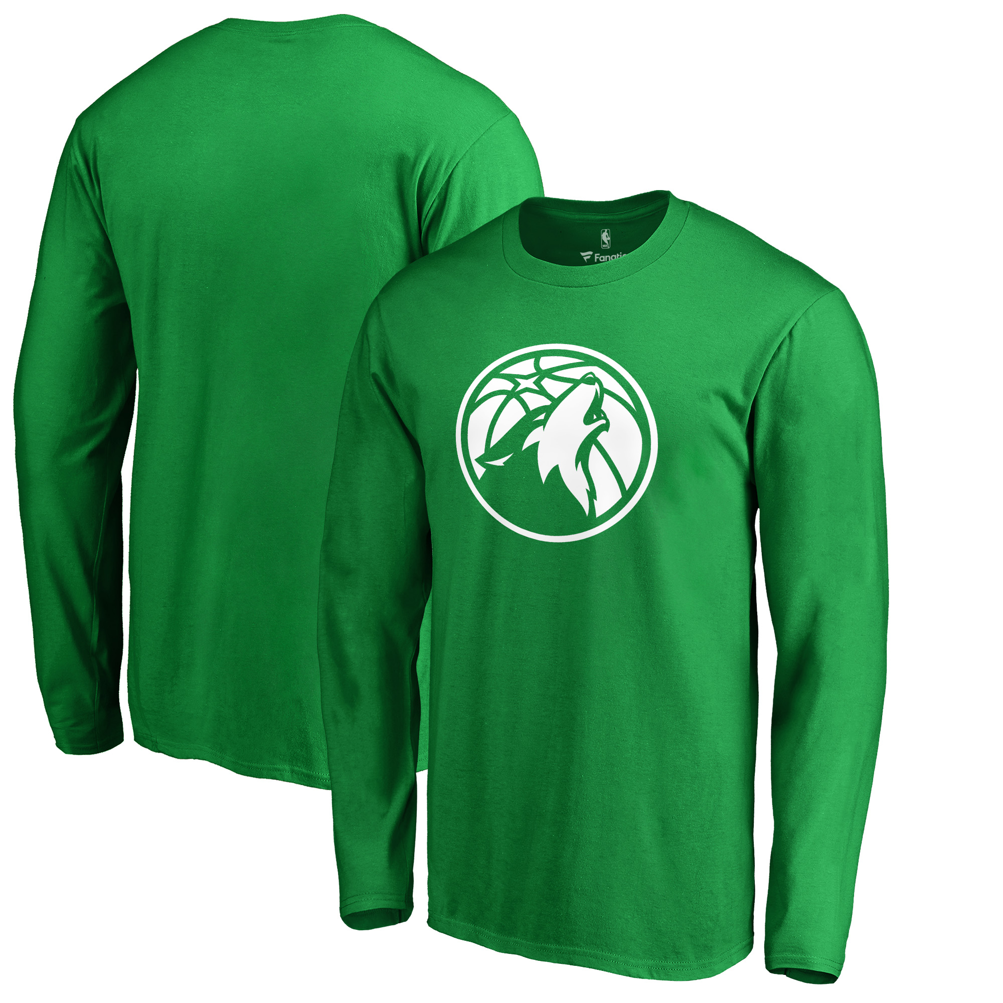 Minnesota Timberwolves Fanatics Branded St. Patrick's Day White Logo Long Sleeve T-Shirt - Kelly Green