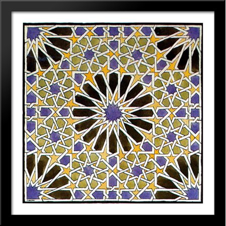 Mural Mosaic in The Alhambra 28x28 Large Black Wood Framed Print Art by M.C. Escher