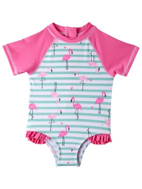 Wippette Baby Girl One-Piece Rashguard Swimsuit