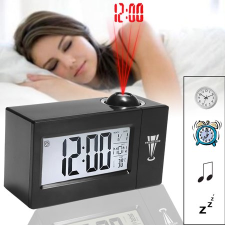 Snooze Alarm LCD Clock Backlight Wall Projector Projection Clocks Sound Control Thermometer Home Kitchen Car Alarm Digital Clock,2 Colors (No Battery) Valentine's