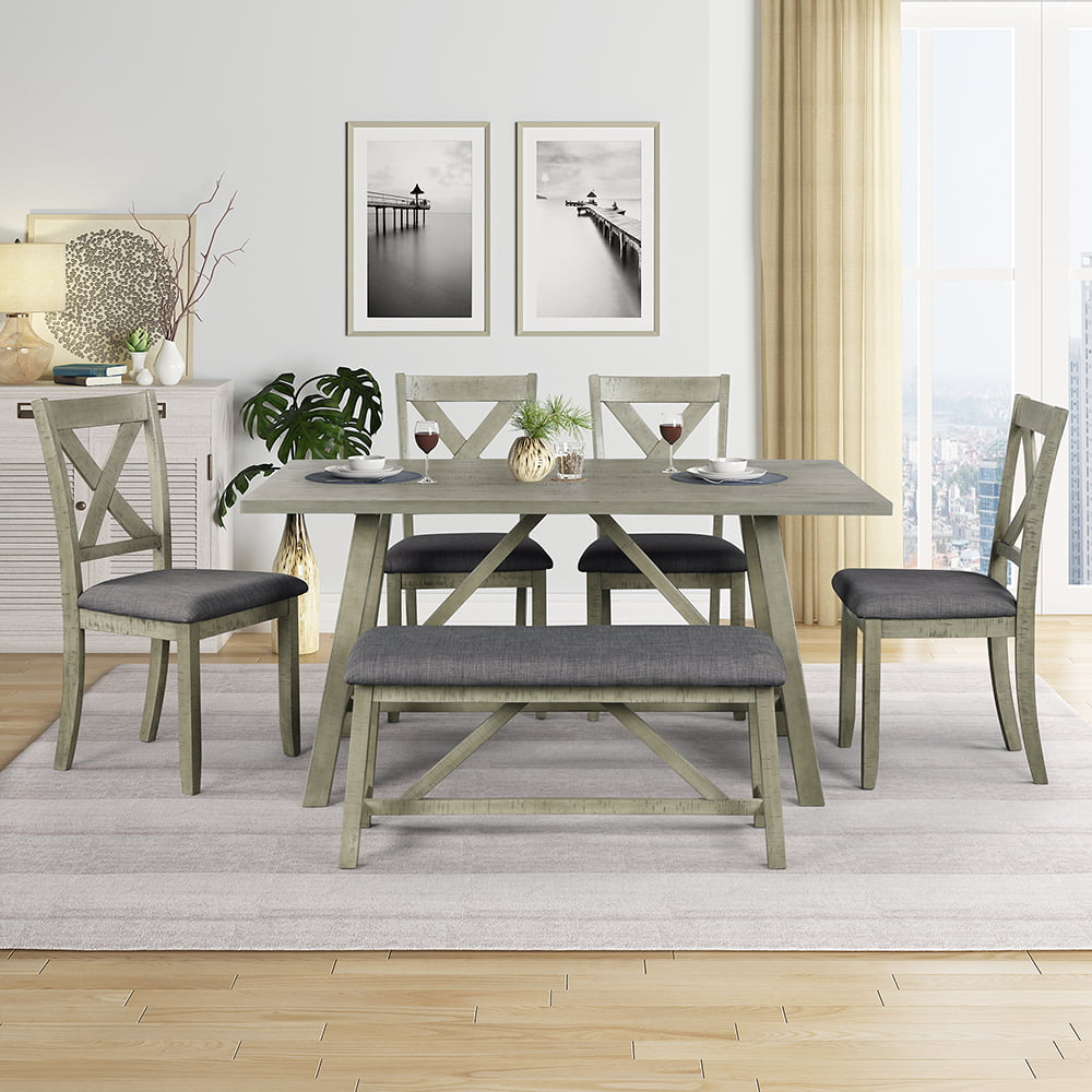veryke country style 6piece dining table sets rustic