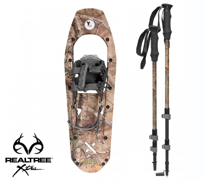 Yukon Charlie's REALTREE Xtra Molded Snowshoes(up to 200lbs) Wood Camo w poles by