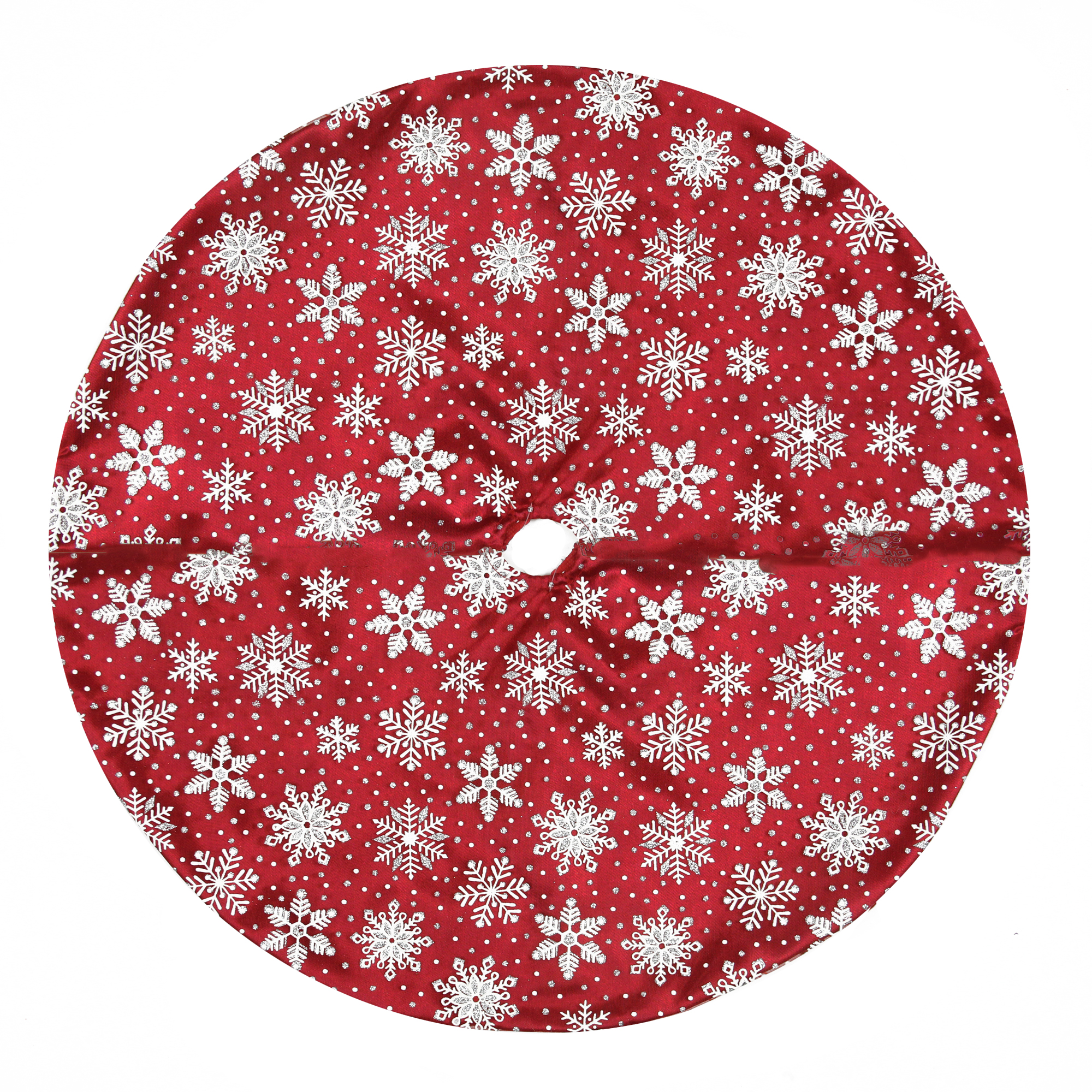 20 Red And White Glitter Snowflake Mini Christmas Tree Skirt