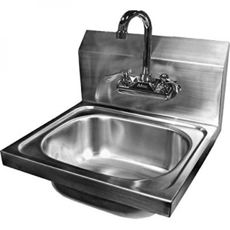 ACE Wall Mount Stainless Steel Hand Sink with No Lead Faucet and Strainer, 15-3/4 by