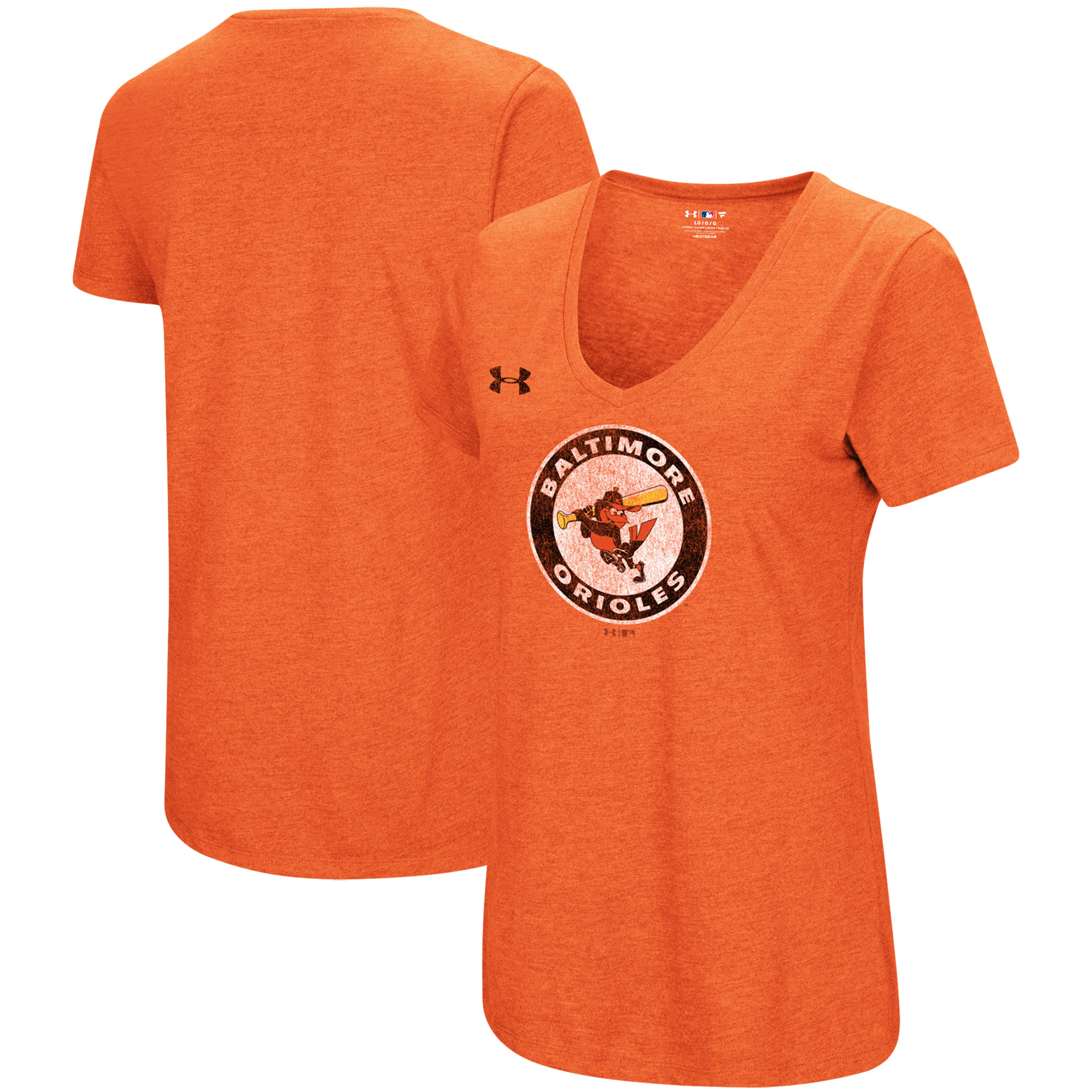 Baltimore Orioles Under Armour Women's Cooperstown Collection Logo Performance Tri-Blend V-Neck T-Shirt - Heathered Orange