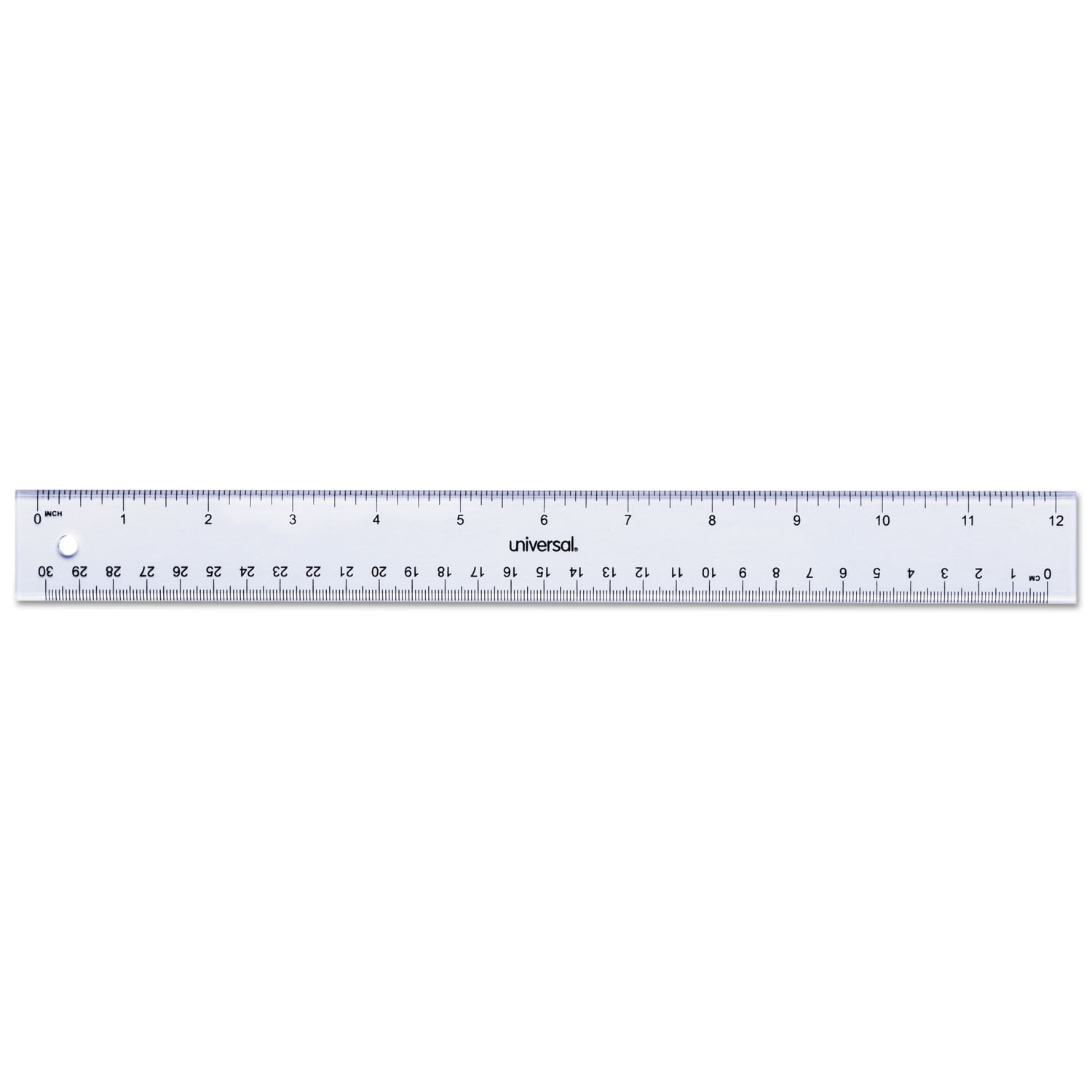 "Clear Plastic Ruler, Standard Metric, 12"" by Universal Office Products"
