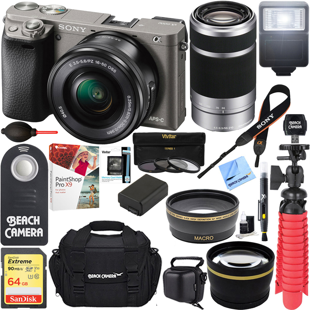 Sony Alpha a6000 24.3MP Interchangeable Camera 16-50mm & 55-210mm Zoom Lens (Grey)+ 64GB Accessory Bundle + Large Gadget Bag + Extra Battery+Wide Angle Lens+2x Telephoto Lens +Flash +Remote +Tripod
