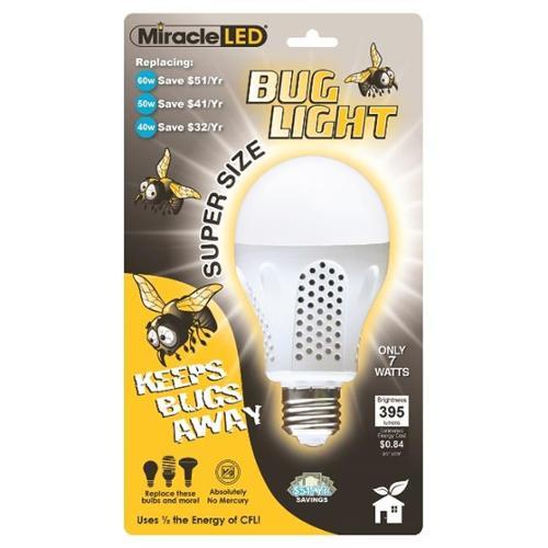 MiracleLED 605014 7 Watt Super Bug Light, Bug Free Porch and Patio Light, Yellow