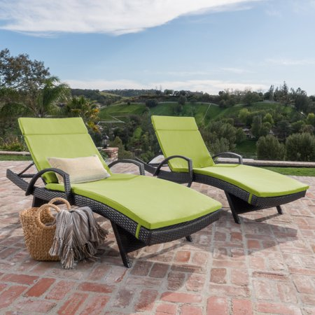 Anthony Outdoor Wicker Adjustable Chaise Lounge with Arms and Cushion, Set of 2, Multibrown, Grean