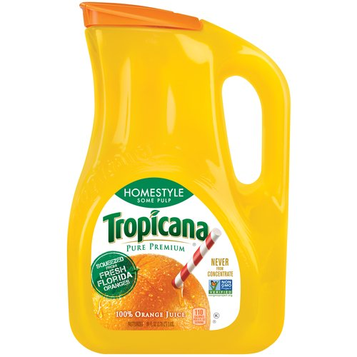 Tropicana Pure Premium Homestyle Some Pulp 100% Orange Juice, 89 fl oz