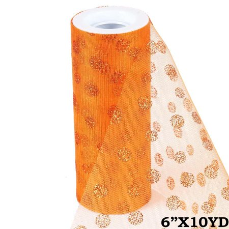6 inch x 10 yards Glittered Polka Dot Tulle - Orange