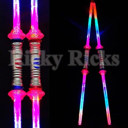 2 Galactic Wars Double Toy Sword Dual Lightsaber 2-Sided Light-Up Kids Star (Pack of 2) - Light Saber Swords