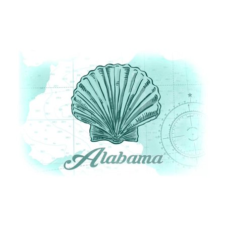 Alabama - Scallop Shell - Teal - Coastal Icon Print Wall Art By Lantern Press