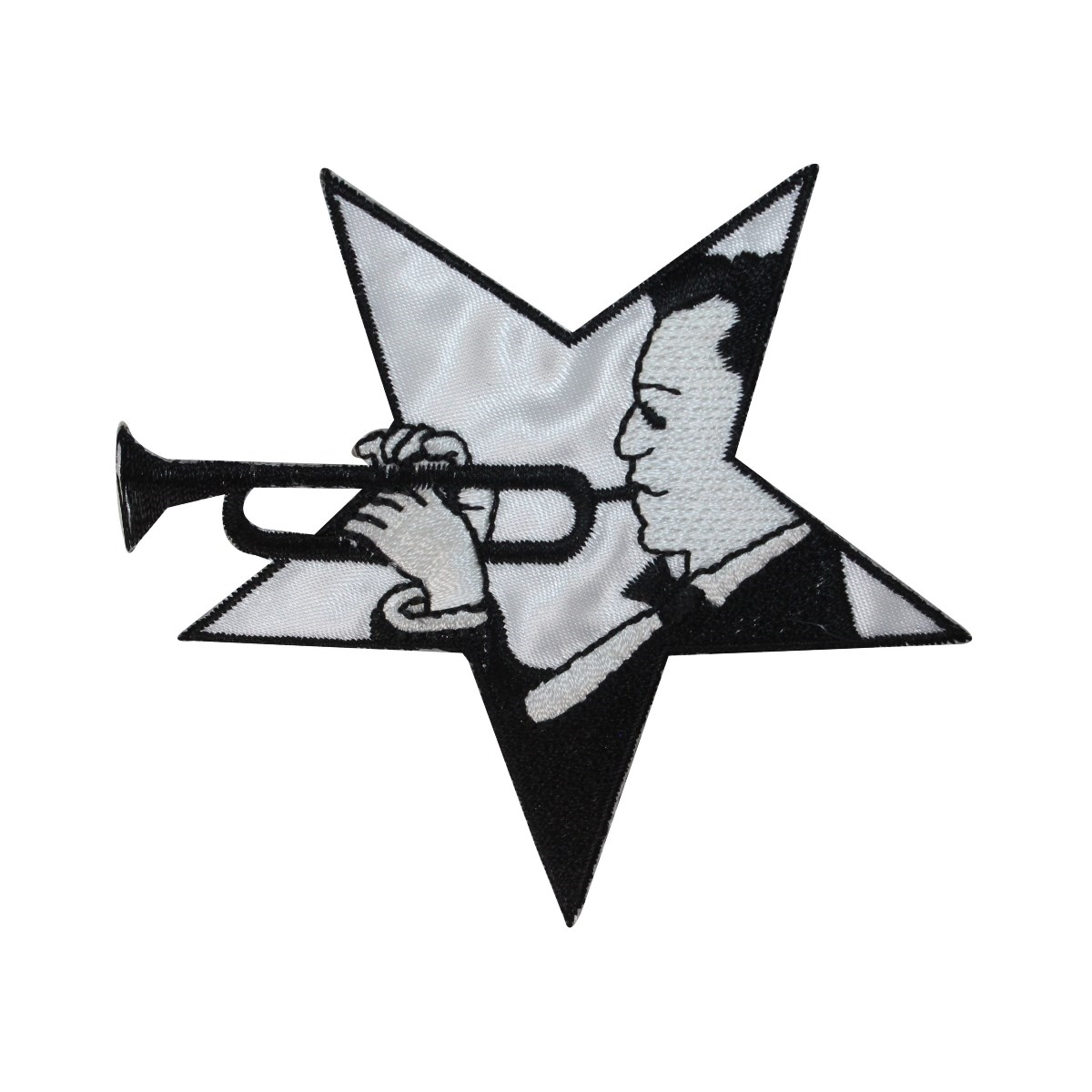ID 3177 Star Trumpet Player Patch Jazz Band Music Embroidered Iron On Applique