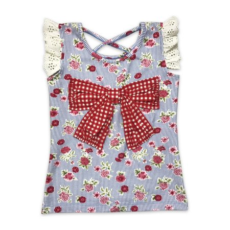Mustard Pie Clearance (Mustard Pie Girls Blue Red Floral Print Bluebell Pippa Tank)