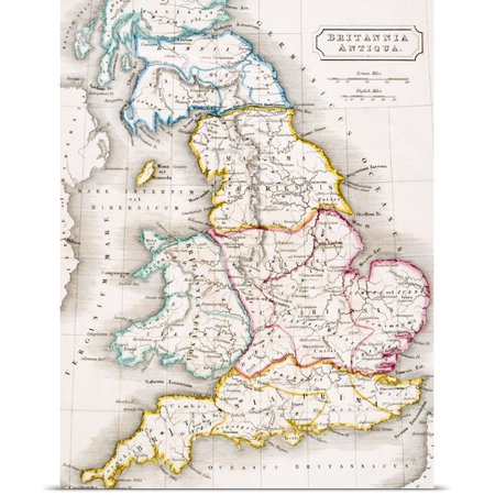 Map Of England Poster.Great Big Canvas English School Poster Print Entitled Map Of England Britannia Antiqua