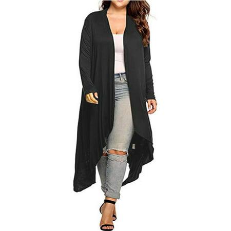 Women's Open Front Duster Cardigan Long Sleeve Sweater Loose Causal Lightweight Kimono Cardigan Plus (Maternity Wrap Cardigan)